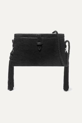 Hunting Season Square Trunk Tasseled Lizard Shoulder Bag - Black