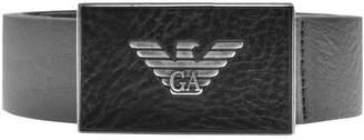 Giorgio Armani Emporio Logo Leather Belt Black
