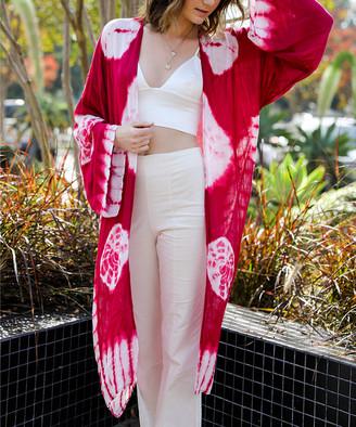 Leto Collection Women's Kimono Cardigans BERRY - Raspberry & White Tie-Dye Kimono - Women