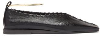 Jil Sander Whipstitched Square-toe Leather Ballet Flats - Black