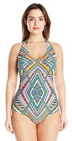 Jessica Simpson Women's Plus-Size Venice Beach Cut-Out One-Piece Swimsuit