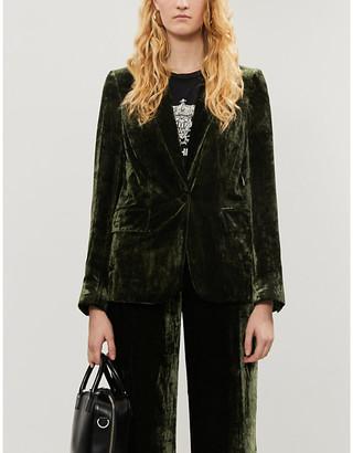 Frame Single-breasted tailored-fit velvet blazer