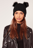 Missguided Double Pom Beanie Hat Cream