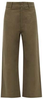 Apiece Apart Merida Linen And Cotton Blend Twill Trousers - Womens - Khaki
