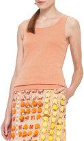 Akris Punto Micro-Stripe Wool Tank Top, Cream/Orange