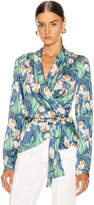 PatBO Floral Print Wrap Top in Blue | FWRD