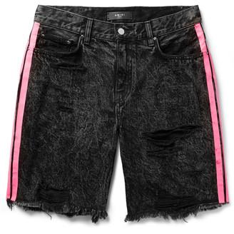 Amiri Thrasher Neon-Striped Distressed Denim Shorts