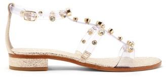 Sophia Webster Dina Crystal-studded Crackled-leather Sandals - Womens - Gold Multi