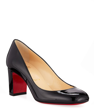 Christian Louboutin Cadrilla Patent Block-Heel Red Sole Pump
