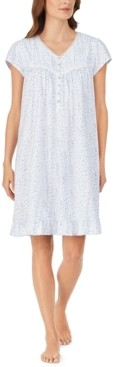 Eileen West Cotton Lace-Trim Floral-Print Nightgown