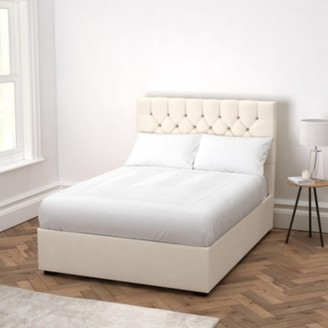 The White Company Richmond Cotton Bed - Headboard Height 130cm, Pearl Cotton, Double
