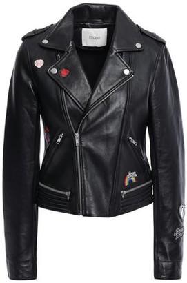 Maje Beliz Appliqued Leather Biker Jacket