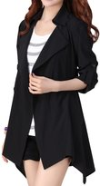 Anself Women's Asymmetric Drape Lapel Open Front Trench Coat Cardigan