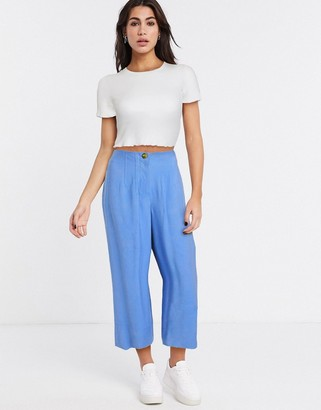 Topshop wide leg cropped pants in blue