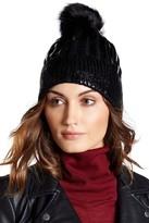 Natasha Accessories Faux Leather & Faux Fur Pompom Beanie