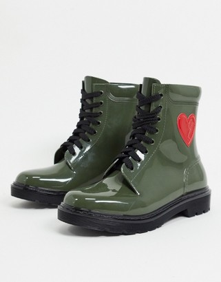 Love Moschino heart side welly boots in green