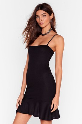Nasty Gal Womens Flip Em Off Ribbed Mini Dress - Black