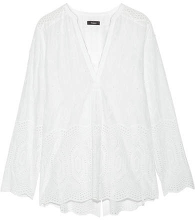 Theory Ofeliah Broderie Anglaise Cotton Top - White