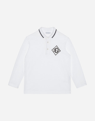 Dolce & Gabbana Long-Sleeved Jersey Polo Shirt With Satin Detail
