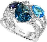Effy Ocean Bleu Blue Topaz (3-5/8 ct. t.w.), Iolite (3/8 ct. t.w.), and Diamond (1/4 ct. t.w.) Statement Ring in 14k White Gold