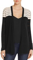 Avec Sheer Stripe Color Block Cardigan
