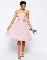 Asos WEDDING Chiffon Midi Bandeau Dress With Detachable Corsage Belt