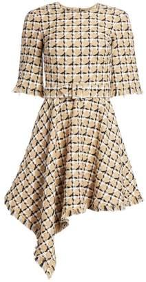 Oscar de la Renta Checked Tweed Asymmetric Hem Dress