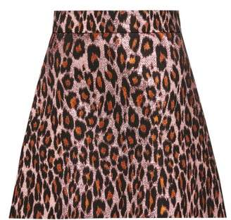 Miu Miu Leopard-brocade Mini Skirt - Womens - Pink Multi
