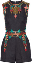 Valentino Embroidered stretch-denim playsuit