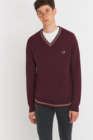 Fred Perry Twin Tipped Mahogany Merino V-neck Jumper