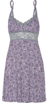 Cosabella Lace-Trimmed Printed Stretch-Jersey Chemise