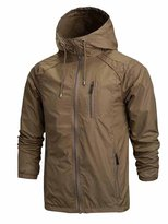 OCHENTA Men's Front-Zip Lightweight Hooded Rain Windbreaker Jacket Dark Green Tag L