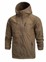OCHENTA Men's Front-Zip Lightweight Hooded Rain Windbreaker Jacket Dark Green Tag XL