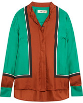 Diane von Furstenberg Color-block Silk-satin Shirt - Orange
