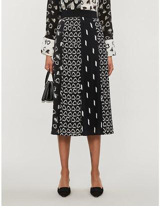 Alice + Olivia Melda graphic-print high-waisted chiffon midi skirt