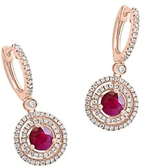 Bloomingdale's Ruby & Diamond Halo Drop Earrings in 14K Rose Gold - 100% Exclusive