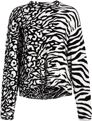 Proenza Schouler White Label Mixed Animal-Print Jacquard Pullover