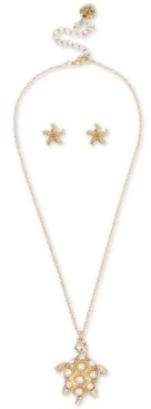 Betsey Johnson Gold-Tone Pave & Imitation Pearl Turtle Pendant Necklace & Starfish Stud Earrings Set