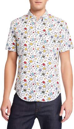 Original Penguin Penguin Men's Short-Sleeve Tennis Racket Printed Shirt