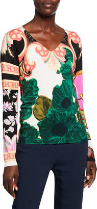 Etro Floral Patchwork Brushed Silk-Knit Sweater