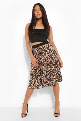 boohoo Petite Leopard Print Pleated Midi Skirt