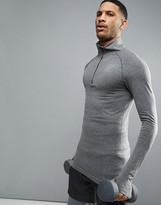 SikSilk Compression Long Sleeve T-Shirt With Quarter Zip In Gray