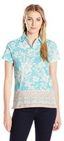 Caribbean Joe Women's Printed Slub Jersey Short Sleeve 5 Button Polo in Morning Breeze Floral Hibiscus Print