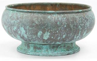 One Kings Lane Vintage Antique English Copper Verdigris Bowl - New England Mercantile