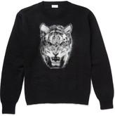Saint Laurent Tiger-Intarsia Mohair-Blend Sweater