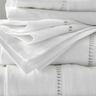 The White Company Santorini Linen Flat Sheet, White, Emperor
