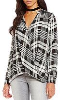 Wyldehart Plaid Cross-Front Woven Shirt