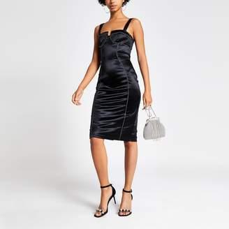 River Island Womens Black satin embellished corset bodycon dress