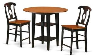 Charlton Home Tyshawn Counter Height 3 Piece Pub Table Set Charlton Home Color: Black/Cherry
