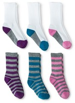 Circo Girls' 6-Pack Athletic Crew Socks - Purple/Blue/Pink 5.5-8.5